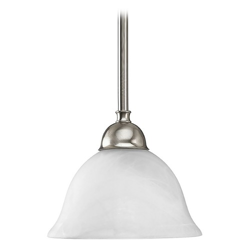 Progress Lighting Progress Mini-Pendant Light with Alabaster Glass P5068-09
