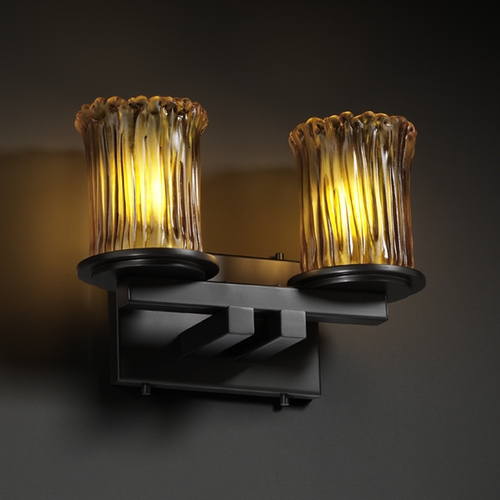 Justice Design Group Justice Design Group Veneto Luce Collection Bathroom Light GLA-8772-16-AMBR-MBLK