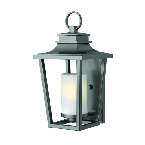 Hinkley Lighting Outdoor Wall Light with White Glass in Hematite Finish 1744HE