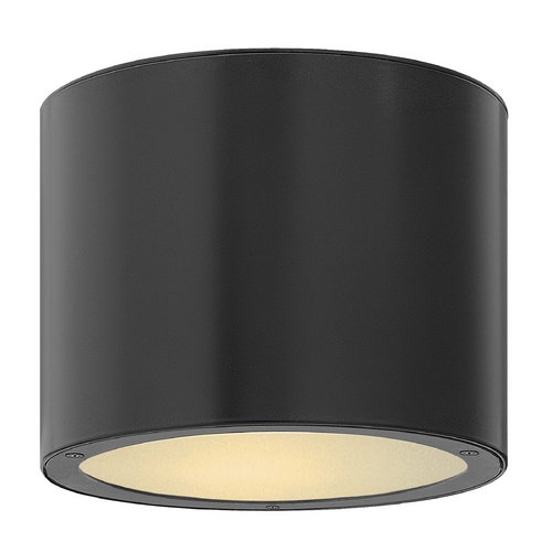 Hinkley Lighting Modern Close To Ceiling Light with White Glass in Satin Black Finish 1663SK-GU24