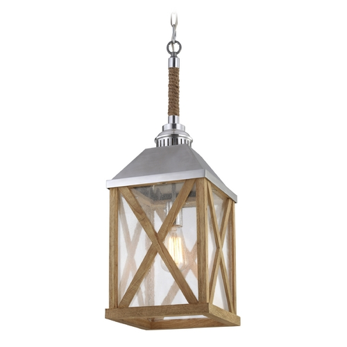 Feiss Lighting Feiss Lighting Lumiere Natural Oak / Brushed Aluminum Mini-Pendant Light with Rectangle Shade F2956/1NO