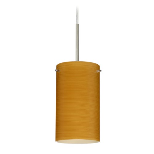 Besa Lighting Besa Lighting Stilo Satin Nickel LED Mini-Pendant Light with Cylindrical Shade 1BT-4404OK-LED-SN