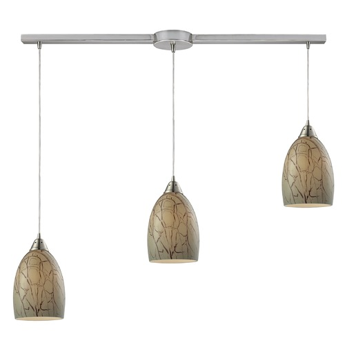 Elk Lighting Elk Lighting Crackle Satin Nickel Multi-Light Pendant with Bowl / Dome Shade 31376/3L
