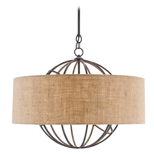 Currey and Company Lighting Currey and Company Millcroft French Black / Natural Pendant Light with Drum Shade 9270
