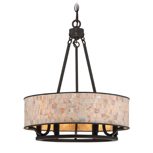 Quoizel Lighting Quoizel Lighting Aristocrat Palladian Bronze Pendant Light with Drum Shade AS2818PN