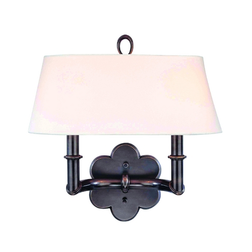 Hudson Valley Lighting Sconce Wall Light with White Shade in Old Bronze Finish 922-OB