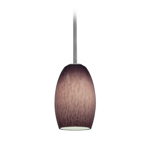 Access Lighting Modern Mini-Pendant Light with Purple Glass 28078-2R-BS/PLC