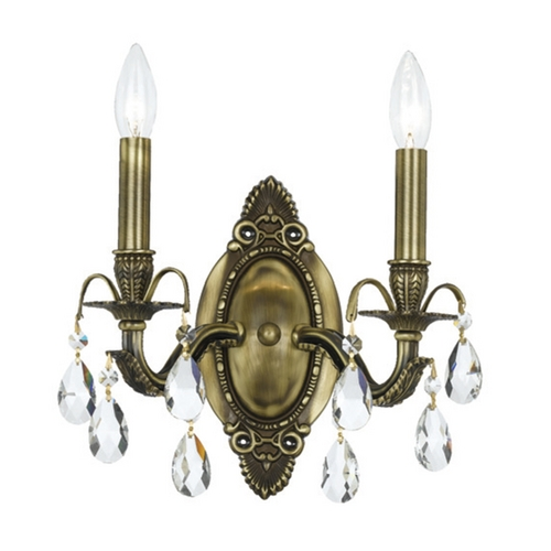 Crystorama Lighting Crystal Sconce Wall Light in Antique Brass Finish 5562-AB-CL-SAQ