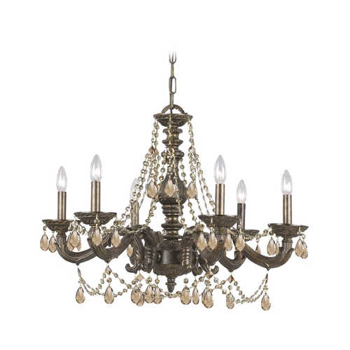 Crystorama Lighting Crystal Chandelier in Venetian Bronze Finish 5026-VB-GTS
