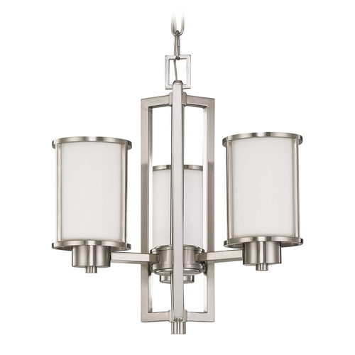Nuvo Lighting Mini-Chandelier with White Glass in Brushed Nickel Finish 60/2851