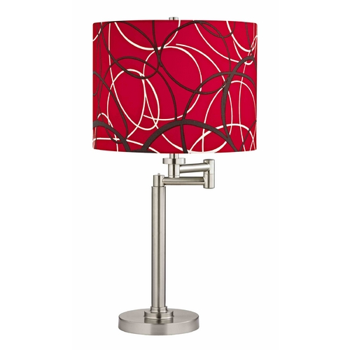 Design Classics Lighting Swing Arm Table Lamp with Red and Grey Drum Shade 1902-09 SH9518