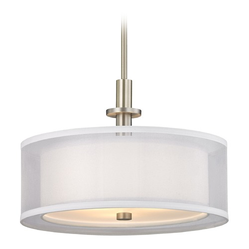 Dolan Designs Lighting Dolan Designs Double Organza Satin Nickel Pendant Light with Drum Shade 1274-09