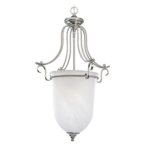 Progress Lighting Progress Pendant Light with Alabaster Glass in Brushed Nickel Finish P3785-09