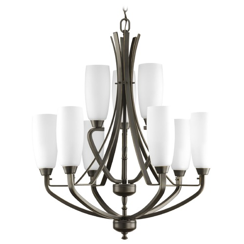 Progress Lighting Progress Chandelier with White Glass in Antique Bronze Finish P4439-20
