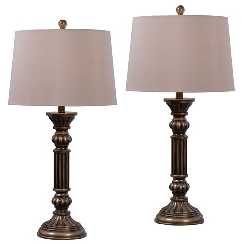 Kenroy Home Lighting Kenroy Home Lighting Reese Aged Golden Bronze Table Lamp Set 32417AGBZ