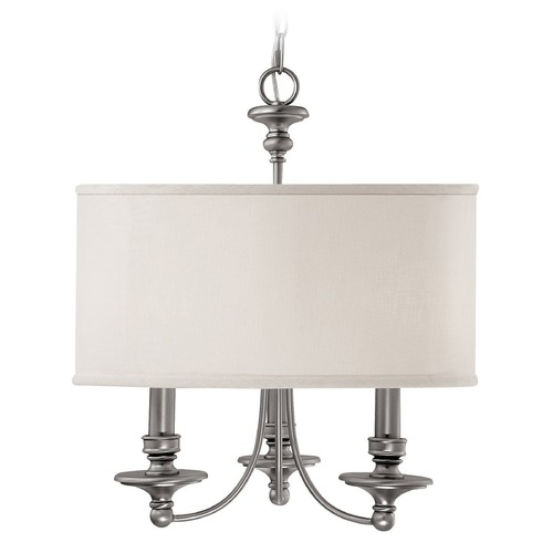 Capital Lighting Capital Lighting Midtown Matte Nickel Pendant Light with Drum Shade 3913MN-453
