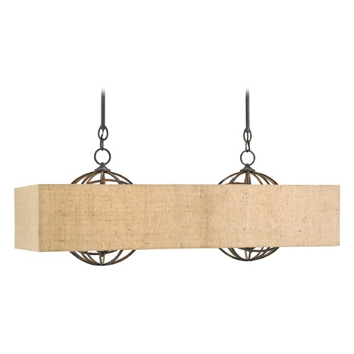 Currey and Company Lighting Currey and Company Millcroft French Black / Natural Island Light with Rectangle Shade 9283