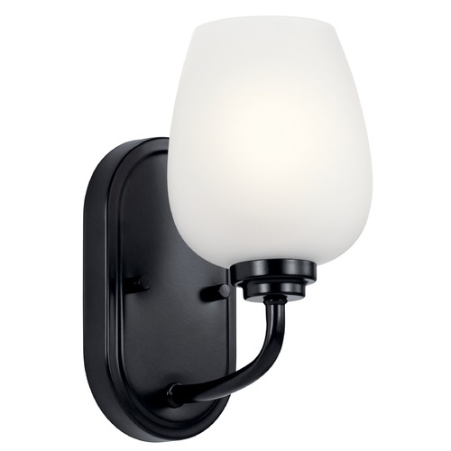 Kichler Lighting Valserrano Black Sconce with Satin Etched Glass 44381BK