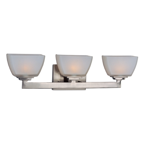 Maxim Lighting Modern Bathroom Light with White Glass in Satin Nickel Finish 9033SWSN