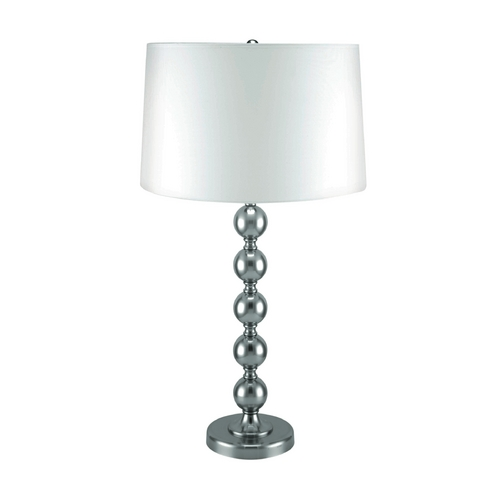 Lite Source Lighting Lite Source Lighting Wit Polished Steel Table Lamp with Drum Shade LSF-2406PS/WHT