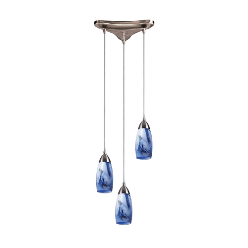 Elk Lighting Modern Multi-Light Pendant Light with Art Glass and 3-Lights 110-3MT