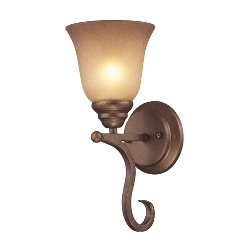 Elk Lighting Sconce Wall Light with Beige / Cream Glass in Mocha Finish 9320/1