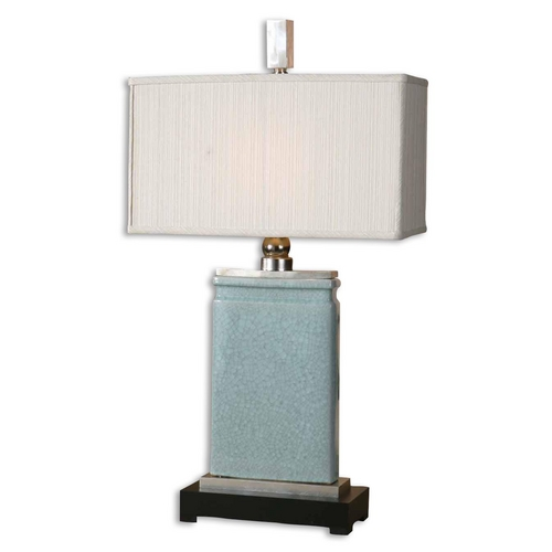 Uttermost Lighting Modern Table Lamp with White Shade in Light Blue Finish 27752-1