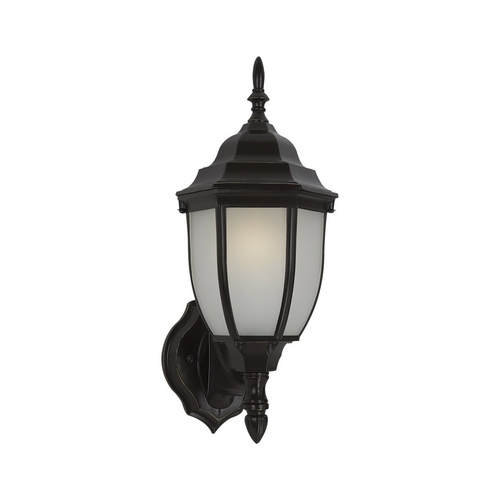 Sea Gull Lighting Outdoor Wall Light with White Glass in Heirloom Bronze Finish 88940BL-782