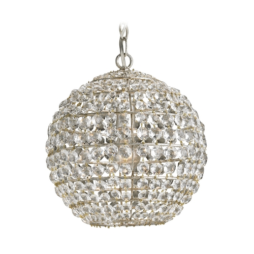 Currey and Company Lighting Crystal Pendant Light in Silver Leaf Finish 9005