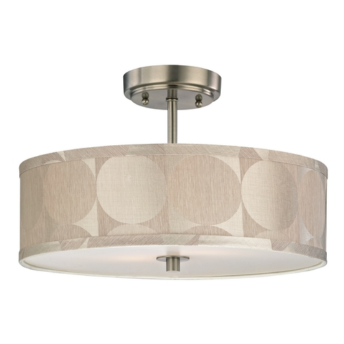 Design Classics Lighting Drum Ceiling Light with Silver Shade - 16-Inches Wide DCL 6543-09 SH9471
