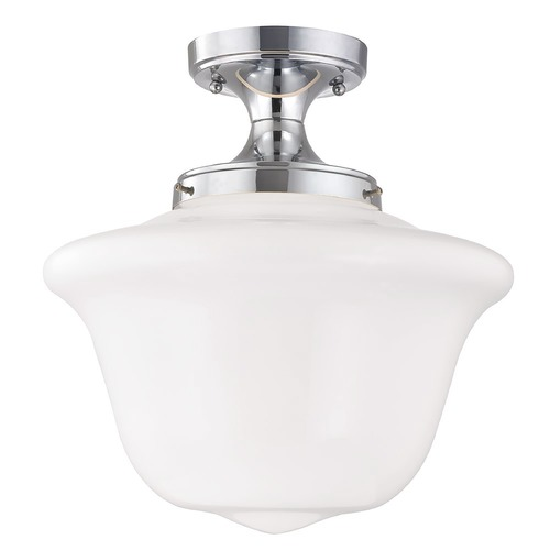 Design Classics Lighting 14-Inch Wide Chrome Finish Schoolhouse Ceiling Light FES-26/ GD14