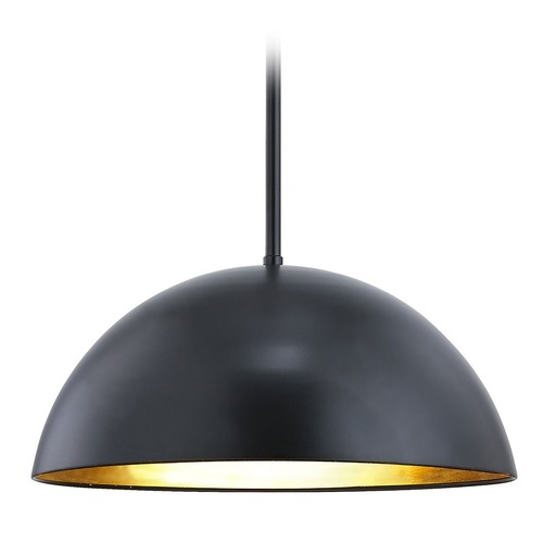 Design Classics Lighting Design Classics Moro Matte Black and Gold Leaf Pendant with Dome Shade 1857-07 + MOD05 30K