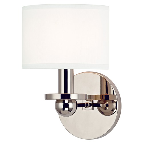 Hudson Valley Lighting Kirkwood 1 Light Sconce Drum Shade - Polished Nickel 1511-PN-WS