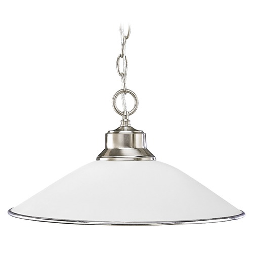 Progress Lighting Progress Pendant Light with White Glass in Brushed Nickel Finish P5013-09