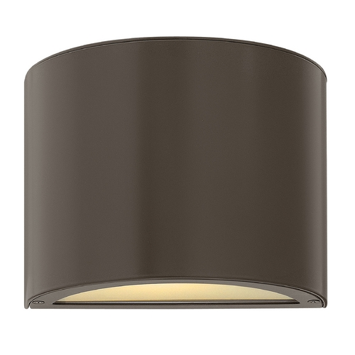 Hinkley Lighting Modern Outdoor Wall Light with White Glass in Bronze Finish 1666BZ-GU24