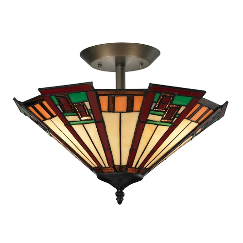 Elk Lighting Semi-Flushmount Light with Multi-Color Glass in Tiffany Bronze Finish 70116-3
