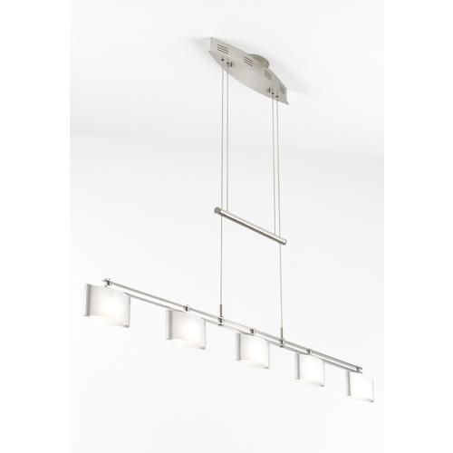 Holtkoetter Lighting Holtkoetter Modern Low Voltage Drum Pendant Light with White Glass in Satin Nickel Finish 5515 SN GB50