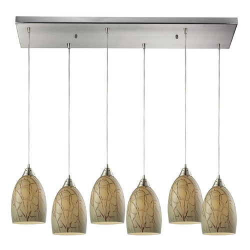 Elk Lighting Elk Lighting Crackle Satin Nickel Multi-Light Pendant with Bowl / Dome Shade 31376/6RC
