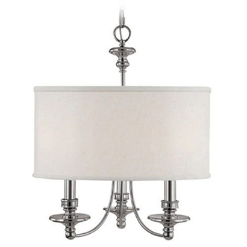 Capital Lighting Capital Lighting Midtown Polished Nickel Pendant Light with Drum Shade 3913PN-453