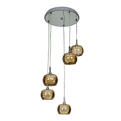 Access Lighting Access Lighting Glam Chrome Multi-Light Pendant with Bowl / Dome Shade 52118-CH/MIR