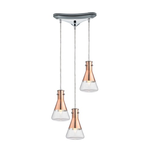 Elk Lighting Elk Lighting Olean Polished Chrome Multi-Light Pendant with Conical Shade 14411/3