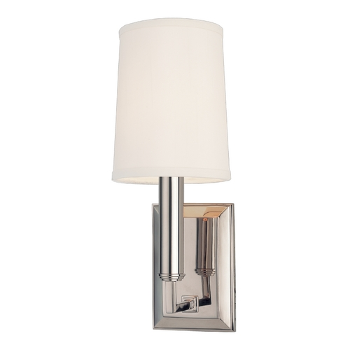 Hudson Valley Lighting Modern Sconce Wall Light with White Shade in Polished Nickel Finish 811-PN