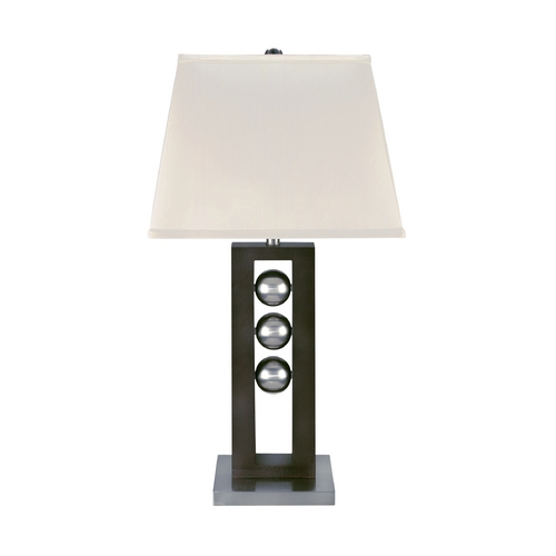 Lite Source Lighting Modern Table Lamp with White Shade in Polished Steel / Dark Walnut Finish LSF-2450