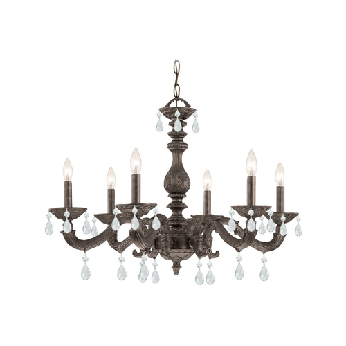 Crystorama Lighting Crystal Chandelier in Venetian Bronze Finish 5036-VB-CL-SAQ