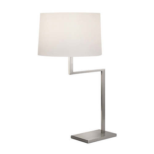 Sonneman Lighting Modern Table Lamp with White Shade in Satin Nickel Finish 6425.13