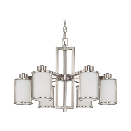 Nuvo Lighting Chandelier with White Glass in Brushed Nickel Finish 60/2853