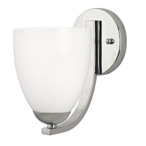 Design Classics Lighting Contemporary Chrome Wall Sconce with Opal White Bell Glass Shade 585-26 GL1024MB