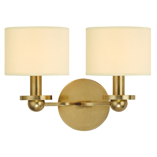 Hudson Valley Lighting Kirkwood 2 Light Sconce Drum Shade - Aged Brass 1512-AGB