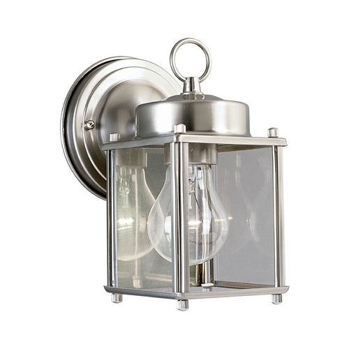 Progress Lighting Progress Outdoor Wall Light with Clear Glass in Brushed Nickel Finish P5607-09