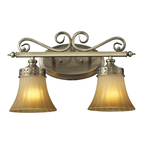 Elk Lighting LED Bathroom Light with Amber Glass in Colonial Bronze Finish 11427/2-LED